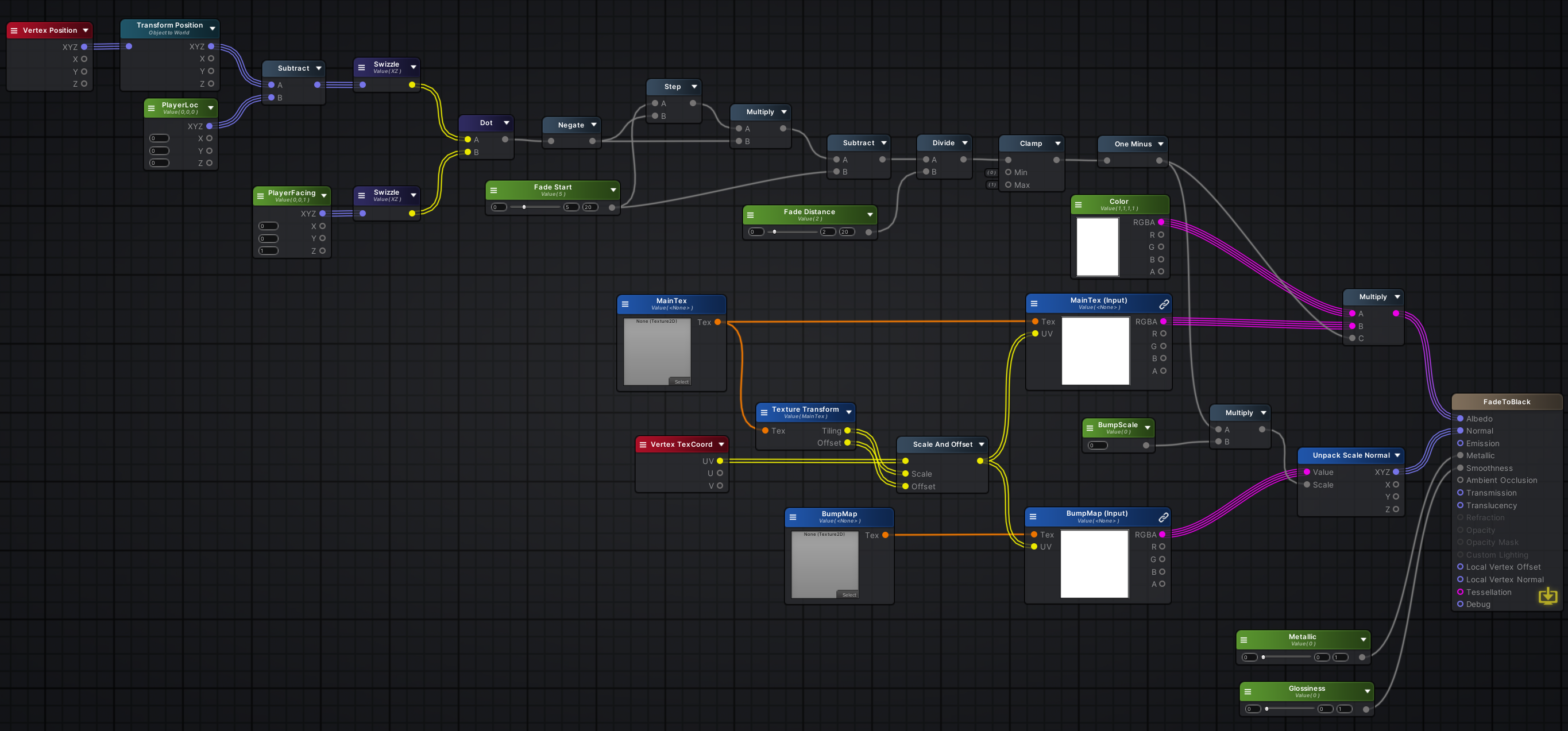 A screenshot showing the visual layout of the Fade to Black shader.